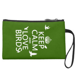 Sueded Mini Clutch with Keep Calm and Love Birds design