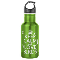 Water Bottle (24 oz) with Keep Calm and Love Birds design