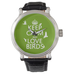 Men's Vintage Black Leather Strap Watch with Keep Calm and Love Birds design
