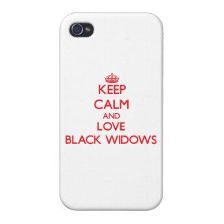 Keep calm and love Black Widows iPhone 4 Case