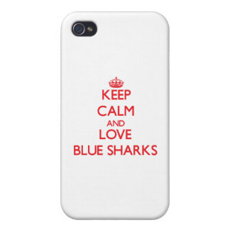 Keep calm and love Blue Sharks iPhone 4 Covers
