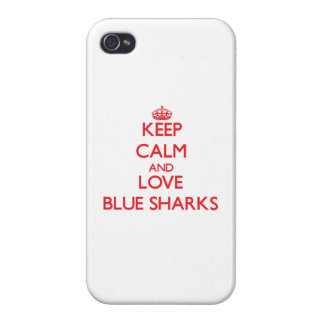 Keep calm and love Blue Sharks iPhone 4/4S Cases