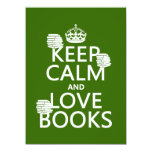 Keep Calm and Love Books (in any color) 5.5x7.5 Paper Invitation Card