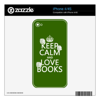 Keep Calm and Love Books in any color iPhone 4S Skins