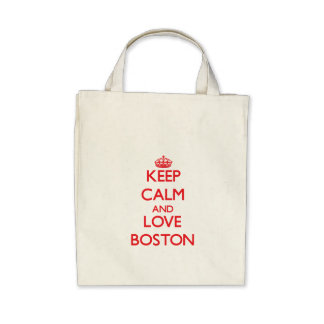 Keep Calm and Love Boston Tote Bags