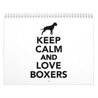 Keep calm and love Boxers Calendar
