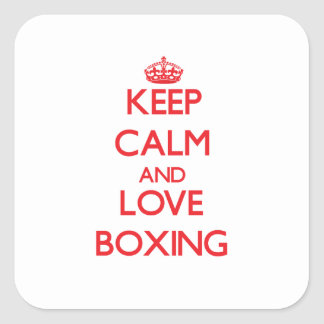 Keep calm and love Boxing Square Stickers