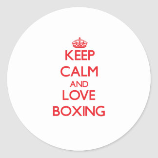 Keep calm and love Boxing Round Sticker