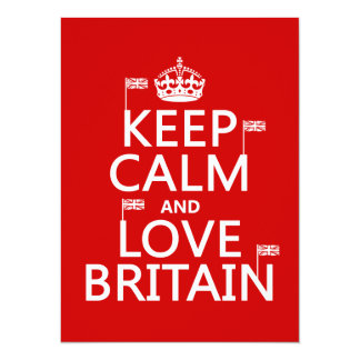 Keep Calm and Love Britain (customizable colors) Card