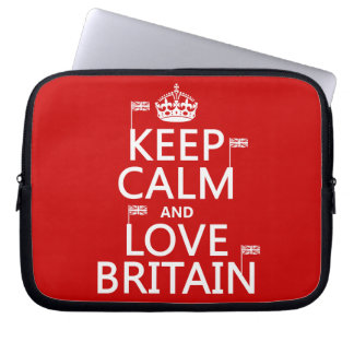 Keep Calm and Love Britain (customizable colors) Laptop Computer Sleeves