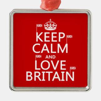 Keep Calm and Love Britain Metal Ornament