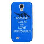 Keep Calm and Love Brontosaurus dinosaur print Galaxy S4 Case