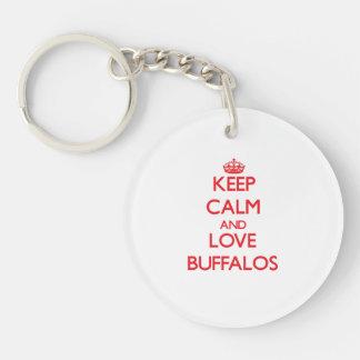 Keep calm and love Buffalos Double-Sided Round Acrylic Keychain