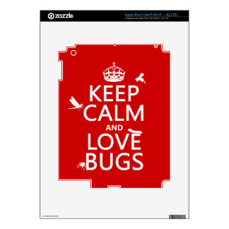 Keep Calm and Love Bugs (any background color) iPad 3 Decal