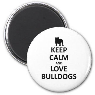 Keep calm and love bulldogs 2 inch round magnet