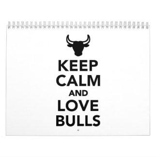 Keep calm and love bulls calendar