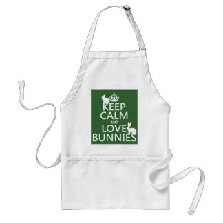 Keep Calm and Love Bunnies - all colors Adult Apron