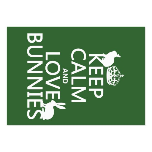 Keep Calm and Love Bunnies - all colors Large Business Cards (Pack Of 100)