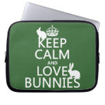 Keep Calm and Love Bunnies - all colors Computer Sleeves