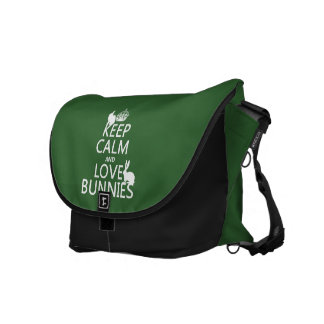 Keep Calm and Love Bunnies - all colors Messenger Bag