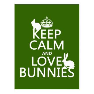 Keep Calm and Love Bunnies - all colors Postcard