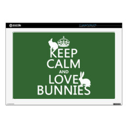 """Keep Calm and Love Bunnies - all colors Skin For 17"""" Laptop"""
