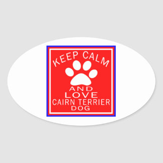 Keep Calm And Love Cairn Terrier Oval Sticker