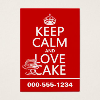Keep Calm and Love Cake (customize colors) Business Card