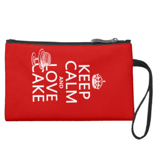 Keep Calm and Love Cake Suede Wristlet Wallet