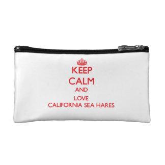 Keep calm and love California Sea Hares Cosmetic Bags