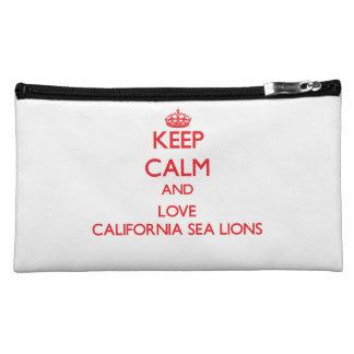 Keep calm and love California Sea Lions Cosmetic Bags