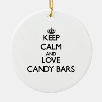 Keep calm and love Candy Bars Christmas Ornament