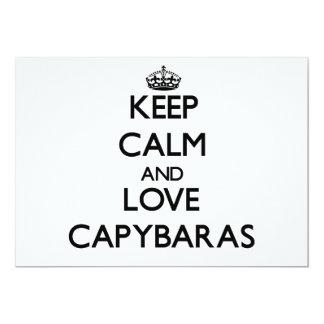 Keep calm and Love Capybaras 5x7 Paper Invitation Card