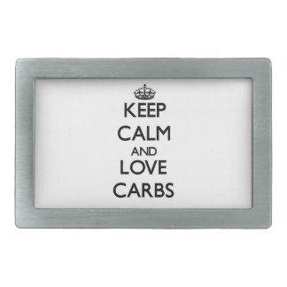 Keep calm and love Carbs Rectangular Belt Buckle