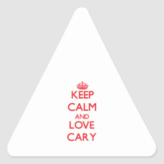 Keep Calm and Love Cary Triangle Stickers