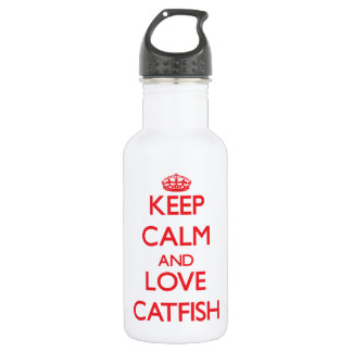 Keep calm and love Catfish 18oz Water Bottle