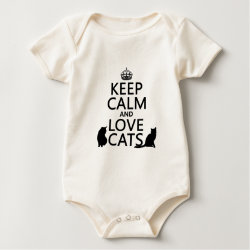 Infant Organic Creeper with Keep Calm and Love Cats design