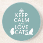 Keep Calm and Love Cats Beverage Coasters
