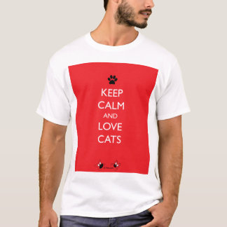 Keep Calm and Love Cats Black Paw T-Shirt