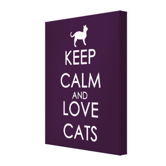 Keep Calm and Love Cats Gallery Wrapped Canvas