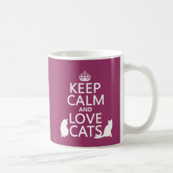Classic White Mug with Keep Calm and Love Cats design
