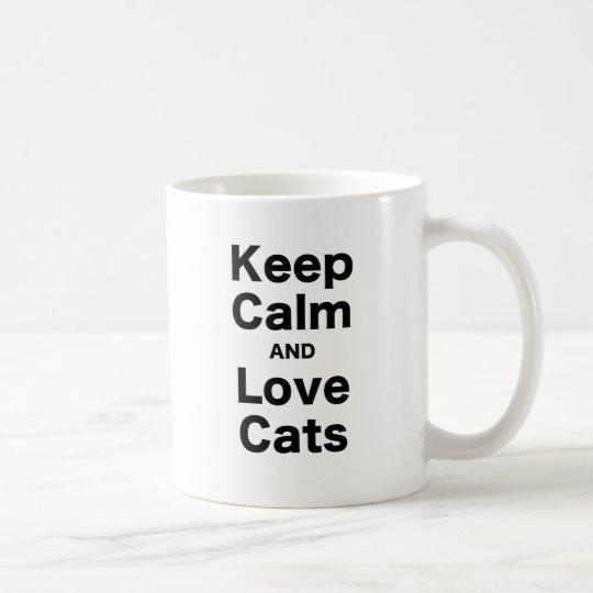 Keep Calm and Love Cats Coffee Mug
