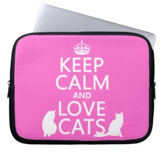 Keep Calm and Love Cats Computer Sleeve