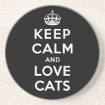 Keep Calm and Love Cats Drink Coaster
