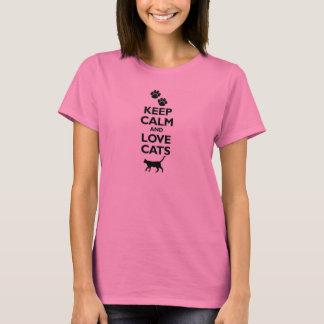 keep calm and love cats feline pet pets cat furry T-Shirt