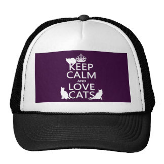 Keep Calm and Love Cats (in any color) Mesh Hats