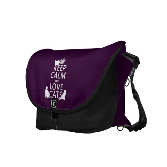 Keep Calm and Love Cats (in any color) Messenger Bag