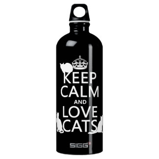 Keep Calm and Love Cats (in any color) Water Bottle