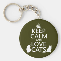 Basic Button Keychain with Keep Calm and Love Cats design