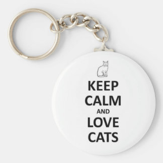 Keep calm and love cats keychain